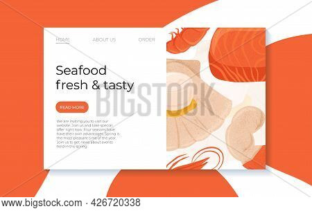 Fresh Tasty Seafood Scallop, Tuna Steak And Shrimp Vector Hand Drawn Landing Page Concept With Space