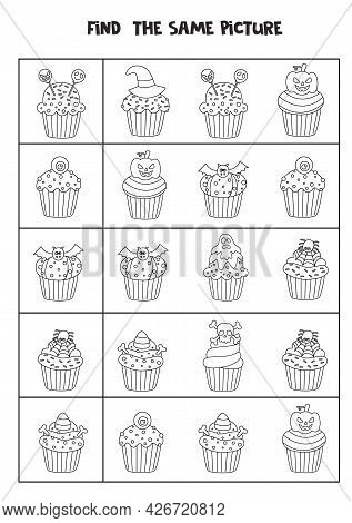 Find The Same Picture Of Black And White Halloween Cupcakes. Educational Worksheet For Kids.