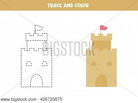 Trace And Color Cartoon Sand Castles. Educational Game For Kids. Writing And Coloring Practice.