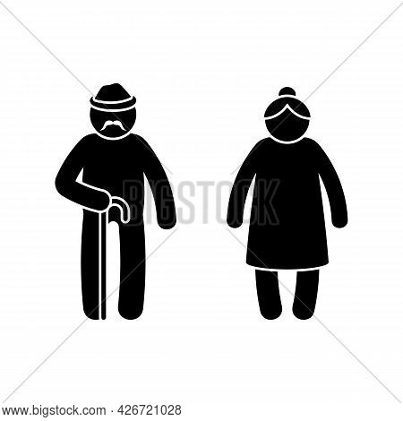 Grandparent Stick Figure Old Man And Woman Vector Illustration Set. Grandpa With Walking Stick And G