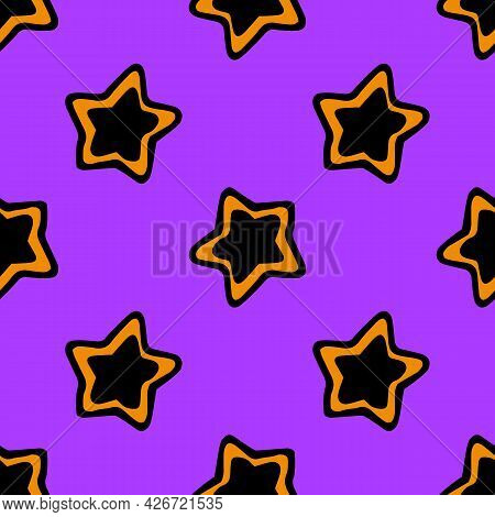 Vector Pattern Of A Star Drawn In Doodles. A Pattern In The Form Of A Black And Orange Star On A Pur