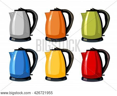 Modern, Bright Green, Orange, Silver, Blue, Red, Yellow Kettles, Electric Teapots Isolated Cartoon F