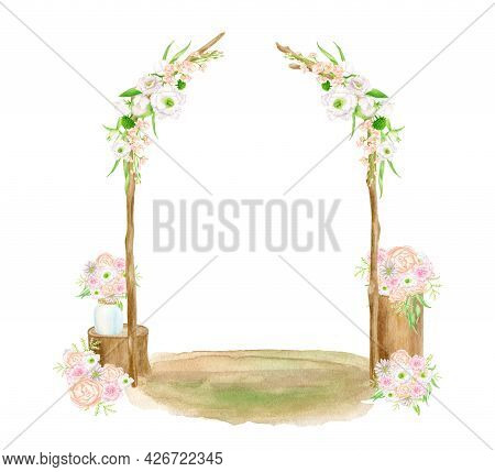 Watercolor Wedding Arch Scene. Hand Drawn Isolated Wood Archway With Flowers And Bouquets On Stumps.