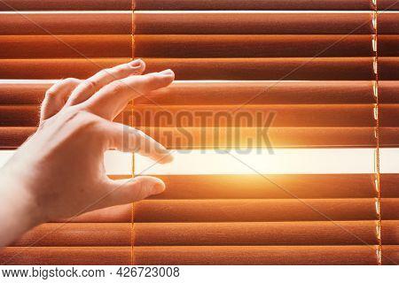 Peeping through window blinds. Hand opening shutters