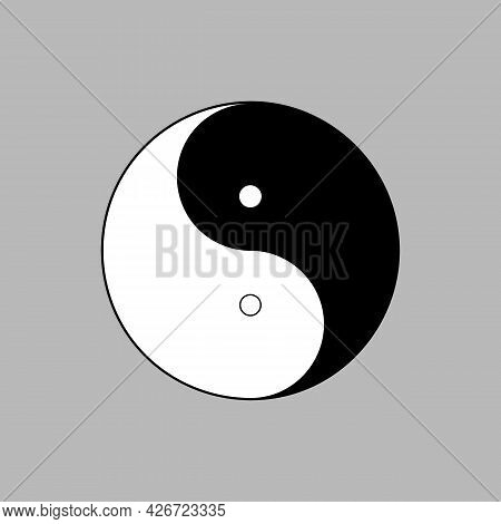 Decorative Sewing Button Design For Clothing And Craft With Two Holes. Yin Yang Symbol Shape. Vector