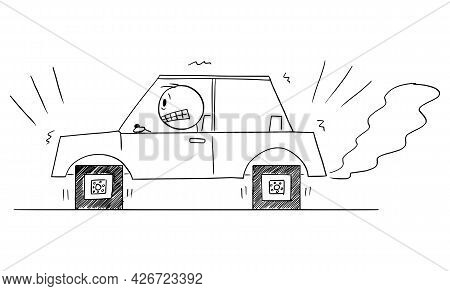 Driver Trying To Drive Car With Square Wheels, Problem, Disadvantage Or Weakness Of Technology, Vect