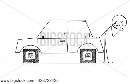 Driver Looking At Car With Square Wheels, Problem, Disadvantage Or Weakness Of Technology, Vector Ca