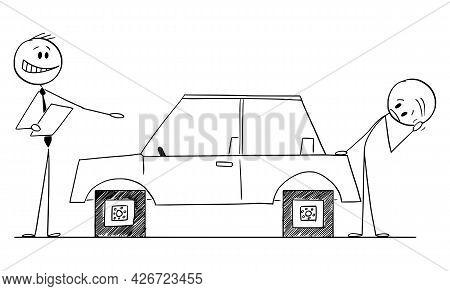 Car Salesman Selling Car With Problem To Customer, Vector Cartoon Stick Figure Illustration