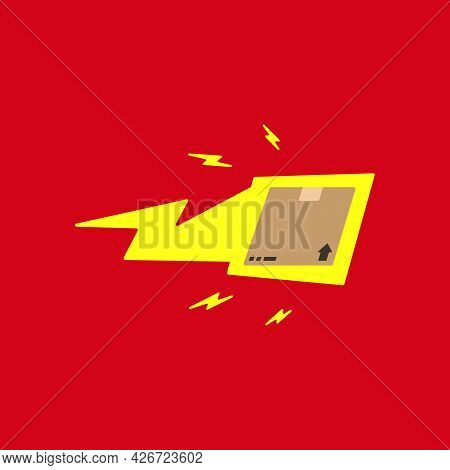 Quick Fast Lightning Package Delivery Box Illustration