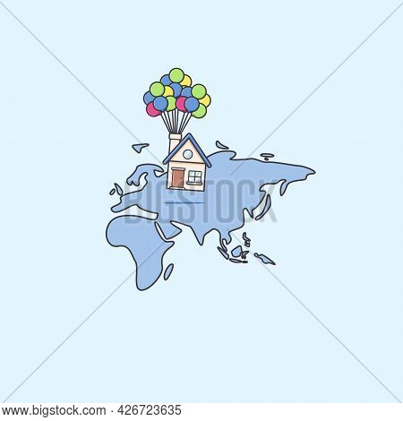 Moving Or Relocating House Service Anywhere In Asia And Africa Continent Map Illustration