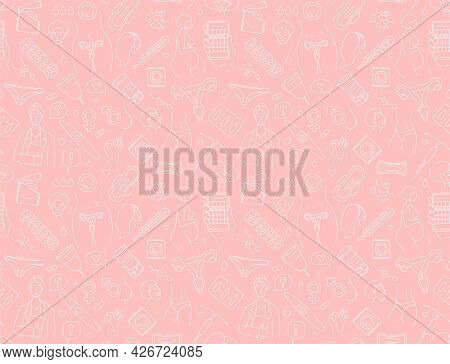 Women Health, Hygiene And Contraception Seamless Background Pattern.