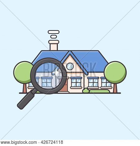 Villa Mansion Or Big House Finder With Magnifying Glass In Cute Round Style Illustration