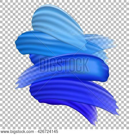 Translucent Realistic Blue Paint Brush Strokes On Transparent Background. Dark Blue Paint Line. Abst