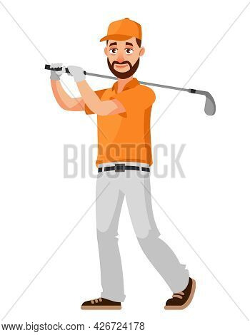 Golfer Hitting With Club. Male Person In Cartoon Style.