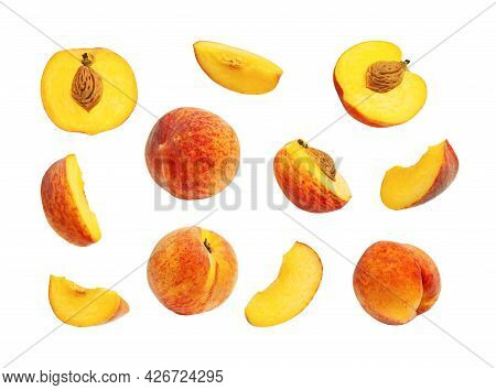 Fresh Ripe Juicy Peaches Isolated On White Background. Whole And Halved Peaches With Pits, Set Of Di