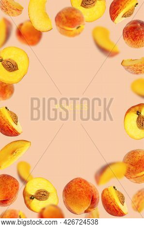 Flying Fresh Ripe Juicy Peaches On Pink Background. Whole And Halved Peaches With Pits, Slice. Summe