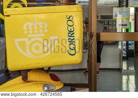 Colonia De Sant Jordi, Spain; July 02 2021: Close-up Of A Delivery Motorcycle Of The Spanish State-o