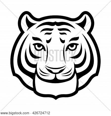 Tiger Head, Face Symbol Icon. Isolated On White.