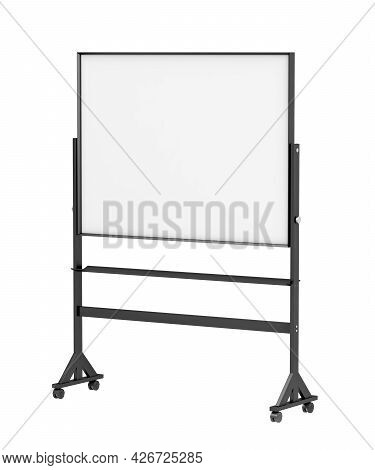 Mobile School Whiteboard On Wheels, Isolated On White Background. 3d Illustration