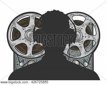 Silhouette Of Kgb Russian Special Services Agent And Recording Tape Recorder Sketch Engraving Vector