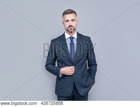 Fits Perfect. Grizzled Boss. Confident Businessman In Formalwear. Business Success.