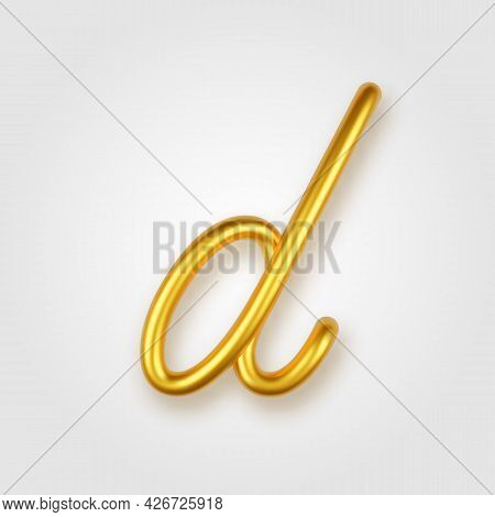 Gold 3d Realistic Lowercase Letter D On A Light Background.
