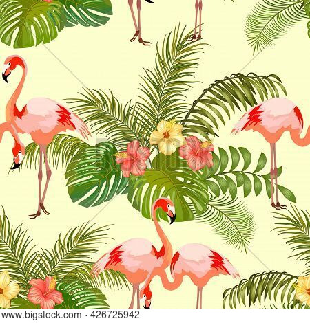 Pattern With Flamingos And Tropical Plants.flamingos And Tropical Plants On A Colored Background In