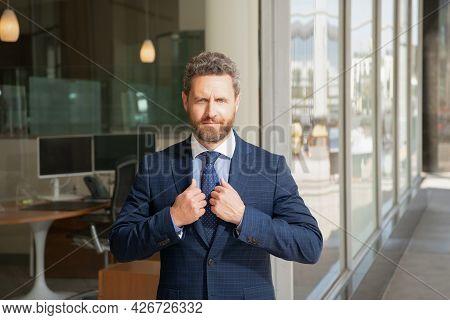 Mature Bearded Man Businessperson In Businesslike Suit Outside The Office, Formalwear