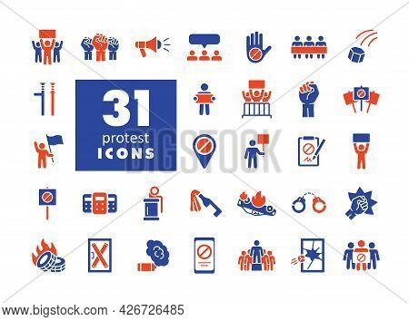 Protest, Demonstration, Strike, Revolution Set Vector Glyph Icons. Graph Symbol For Your Web Site De
