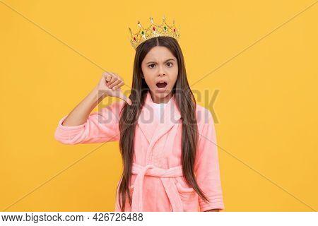 Egoistic Teen Girl In Home Terry Bathrobe And Princess Crown, Egoism