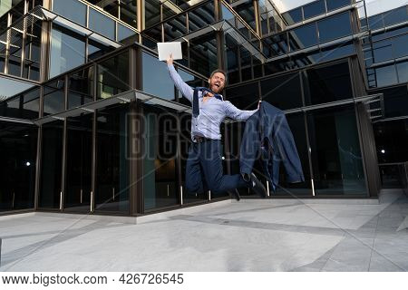 Successful Happy Businessman Man Jumping With Laptop Celebrating Business Success Outdoor, Success