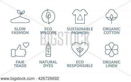 Sustainable Clothes Line Icon Set. Slow Fashion Logo. Eco Viscose Product Badge. Organic Cotton, Nat