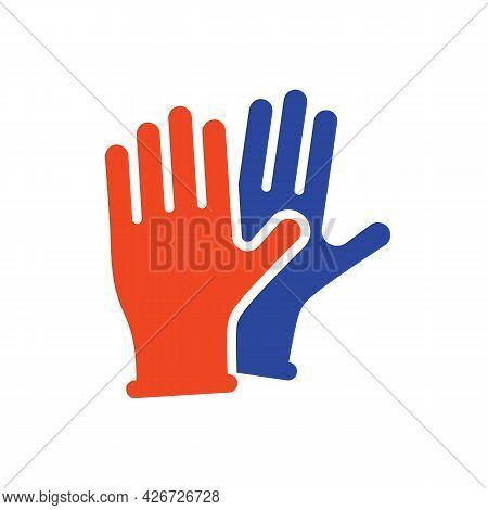 Medical Protective Rubber Gloves Vector Glyph Icon. Coronavirus. Graph Symbol For Medical Web Site A