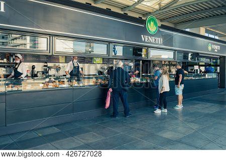 Athens, Greece - October 1, 2020: Greek Bakery At Athens International Airport, Greece