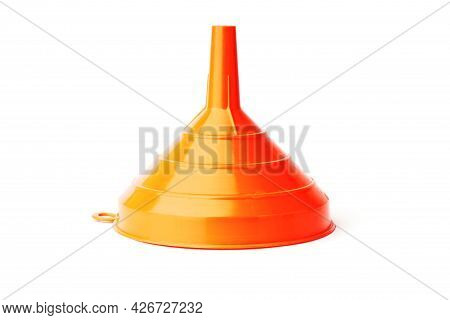 Funnel Isolated On White. Red Plastic Funnel For Liquids.