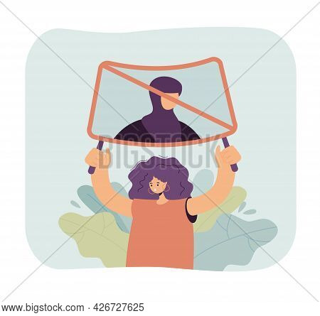 Woman Protesting Against Wearing Hijab. Flat Vector Illustration. Girl Holding Poster, Defending Rig