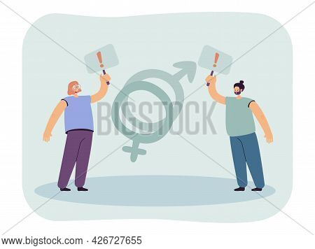 Struggle For Rights Of Women And Men. Flat Vector Illustration. Young Guy And Girl Holding Signs Wit