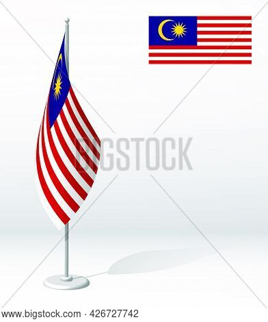 Malaysia Flag On Flagpole For Registration Of Solemn Event, Meeting Foreign Guests. National Indepen