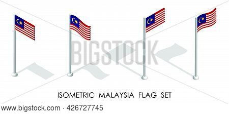 Isometric Flag Of Malaysia In Static Position And In Motion On Flagpole. 3d Vector