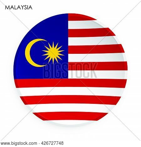 Malaysia Flag Icon In Modern Neomorphism Style. Button For Mobile Application Or Web. Vector On Whit