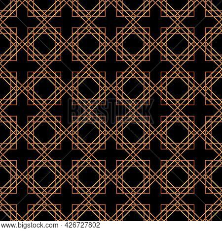 Art Deco Pattern Is Depicted On A Dark Blue Background. Art Deco Geometric Seamless Texture.