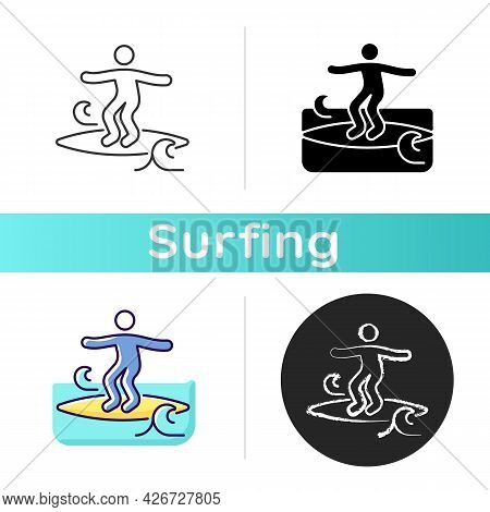 Crumbly Waves Surfing Icon. Learning Surfing Tricks On Mushy Waves. Beginner Friendly Conditions. No