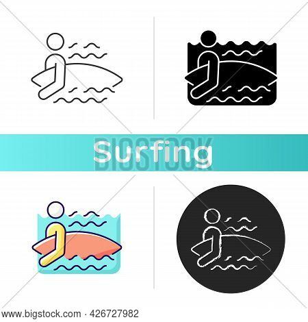 Surfer Entering Water Icon. Surfing For First Time. Choosing Proper Surf Spot. Surfer Getting Throug