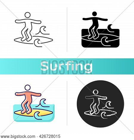 Noseriding Surfing Technique Icon. Performing Maneuver On Head-high Waves. Cross-stepping Trick. Gli