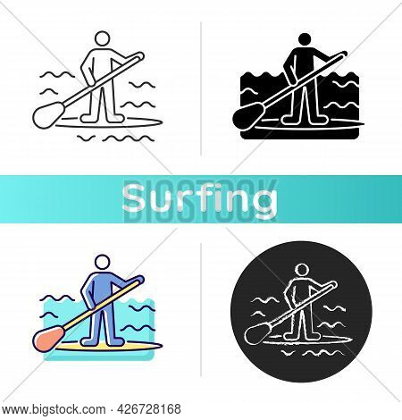 Paddle Board Surfing Icon. Sup Surfing. Upper Body Training. Requiring Balance, Coordination. Travel