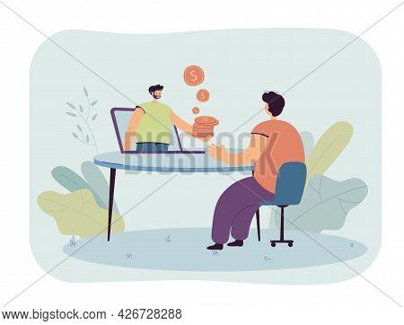 Man Working Online Receiving Salary. Flat Vector Illustration. Freelancer Making Money On Internet,