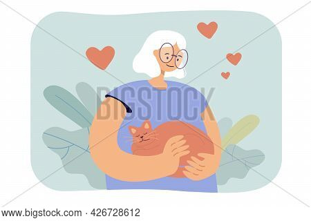 Cartoon Woman Hugging Cat Affectionately. Flat Vector Illustration. Girl With White Hair Holding Red