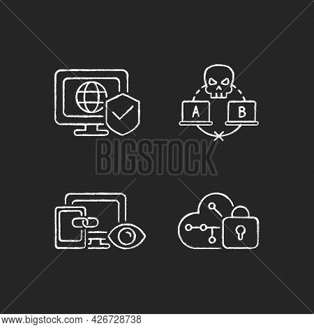 Internet Privacy Chalk White Icons Set On Dark Background. Network Security. Sniffing Attack. Cross-