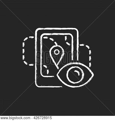 Location Tracking Chalk White Icon On Dark Background. Trailing People Movement Through Gps Navigati