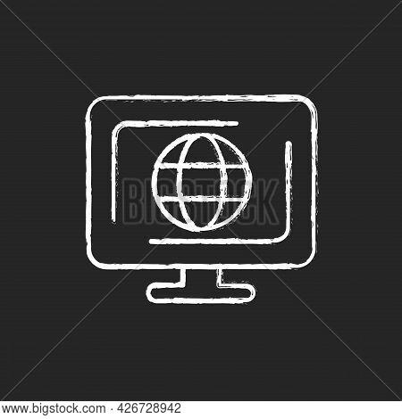 Cyberspace Chalk White Icon On Dark Background. Virtual Computer World. Internet Environment. Interc